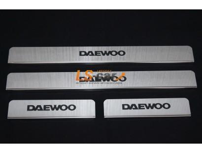 Накладки на пороги М/О Daewoo Matiz из нержавеющей стали