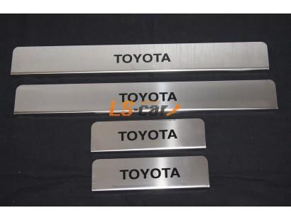 Накладки на пороги Toyota Corolla 2013 из нержавеющей стали (комп 4шт.)