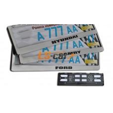 """Рамка для ГОС. номерного знака AF-005 нерж,сталь+пластик """"Kia""""/(закруг. угл)под-жка пласт-я,хром"""