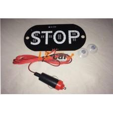 """Знак """"TAXI""""  STOP  красный 12V LED (светодиодный)в прикуриватель  на ветровое стекло  (на 2-х присосках)"""