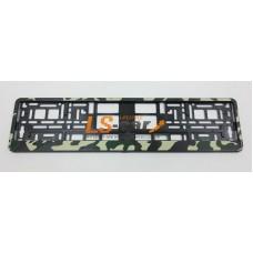 Рамка для ГОС. номерного  знака  пластик двусостовная  ARS STYLE черная тиснение камуфляж зеленый