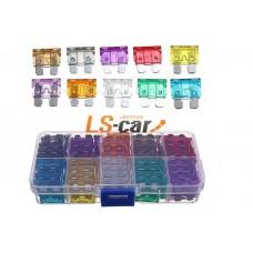Набор флажковых предохранителей FU01 3-5-7,5--10-15-20-25-30-35-40А (10*10шт, пластик. бокс)